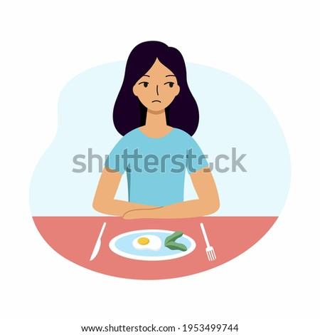 The woman refuses to eat. A girl with anorexia and bulemia. Stock photo ©