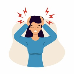 The woman suffers from headaches and migraines. Symptoms of a viral disease. Vector character in the cartoon style.
