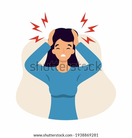 The woman suffers from headaches and migraines. Symptoms of a viral disease. Vector character in the cartoon style.  Foto stock ©