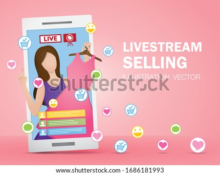 the woman uses live streaming to sell her product. Livestream selling illustration vector.
