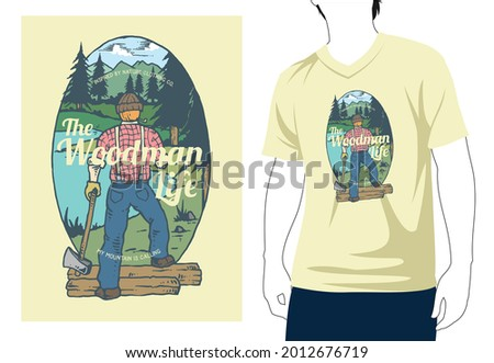 The Woodman Life inspired by nature clothing co my mountain is calling t shirt design with man mock-up Photo stock ©