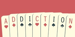 The word Addiction made of playing cards. Gambling addiction conceptual illustration. Clipping mask used.