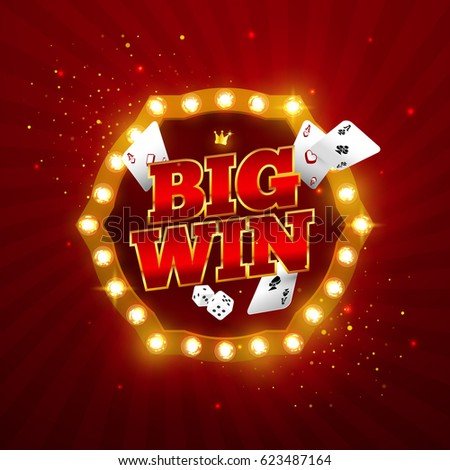 The word Big Win, surrounded by a luminous frame and attributes of gambling, on a explosion background. The new, best design of the luck banner, for gambling, casino, poker, slot, roulette or bone.