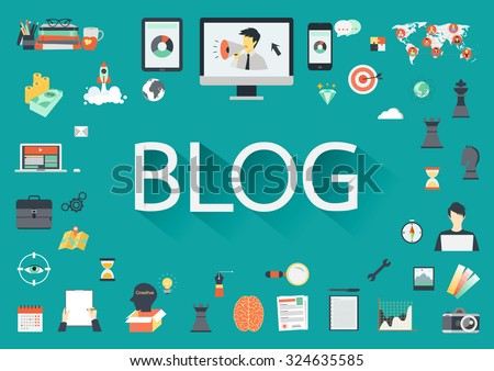 The word BLOG with long shadow surrounding by concerning flat icons on green blackground.