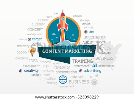 The word cloud Content marketing concept on background with rocket. Project for web banner and printed materials.