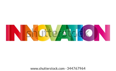 The word Innovation. Vector banner with the text colored rainbow.