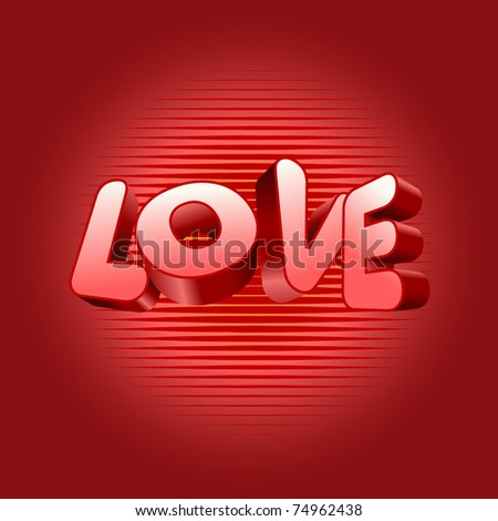 The word love on red background