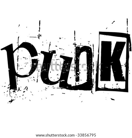 the word punk written in grunge