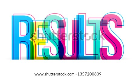 The word Results. Vector letters isolated on a white background