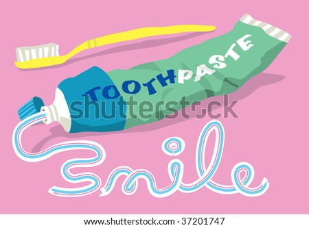 The word SMILE written in toothpaste from a tube and toothbrush