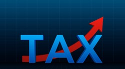 The word ''TAX'' over the red arrow. The concept of raising taxes or increasing profits in business. Vector illustration.
