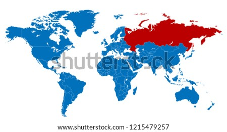 The World and Russia Map Stok fotoğraf ©