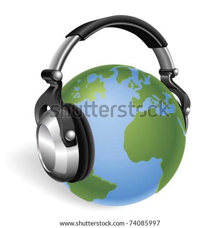 The world earth globe listening to music on funky headphones.