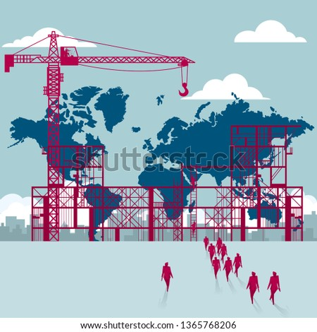 The world map is under construction. A group of businessmen walked to the building site. stock photo