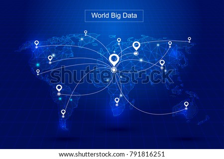 The world map of dotted line links, globalization, internationalization, scientific and technical concepts.