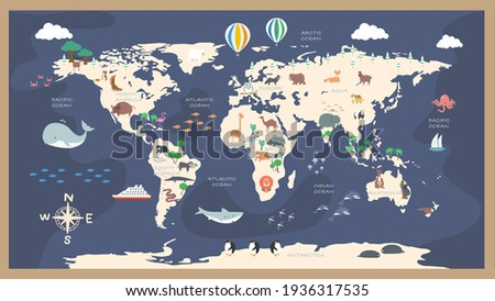The world map with cartoon animals for kids, nature, discovery and continent name, ocean name, vector Illustration.