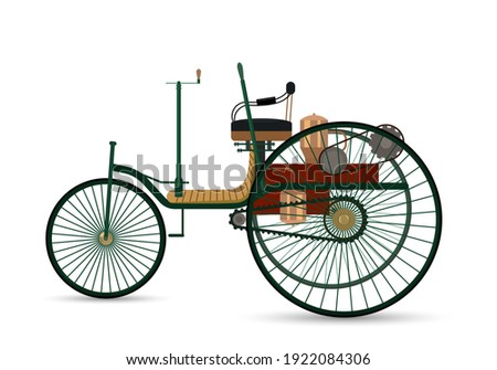the world's first car 1886 Benz Patent-Motorwagen. vintage car on a white background with a shadow. vector illustration