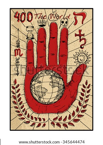 Stock Photo The world.  The major arcana tarot card in color, vintage hand drawn engraved illustration with mystic symbols. Concept image with human hand or palm with earth planet in the middle