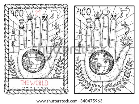 Stock Photo The world.  The major arcana tarot card, vintage hand drawn engraved illustration with mystic symbols. Concept image with human hand or palm with earth planet in the middle