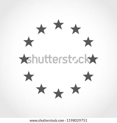 The wreath of stars of EU isolated. Vector illustration. Circle of gray stars or EU flag