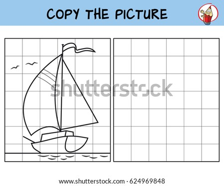 The yacht is sailing by the sea. Copy the picture. Coloring book. Educational game for children. Cartoon vector illustration