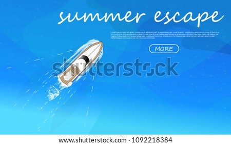 The yacht sails in the ocean, top view, pleasure boat, tourist yacht flat style. summer escape. Banner for web. vector illustration  sea transport