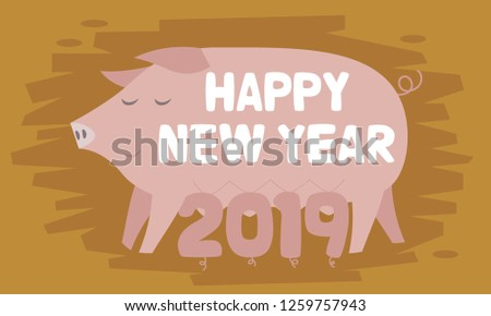 The Year of the Pig. Happy new year greeting card concept illustration. concept illustration. flat design vector graphic style.