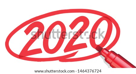 The year 2020 written by hand and surrounded by a red circle with a marker or marker, on a white paper background