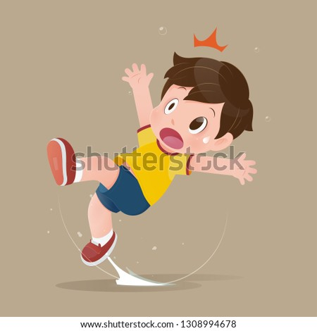 The yellow shirt cartoon boy feel shock because slipping in a puddle on the floor. illustration of child have accident slippery on the wet floor. Concept with vector design