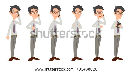 The yong business man in glasses talking on phone. Male office clerk communicates on smart-phone. Emotions character set isolated on white background.
