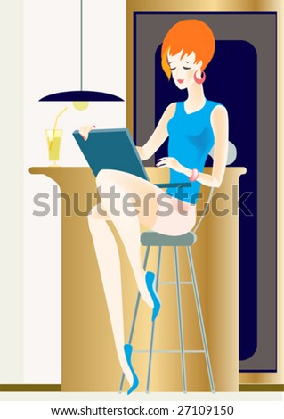 The young girl sits on a high chair at a bar rack and looks at the screen of a  computer