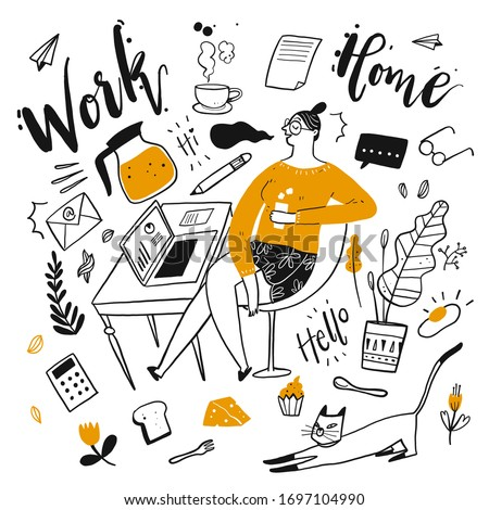 The young pretty working from home. The element hand drawn, Vector Illustration doodle style.