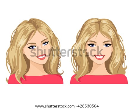 the young woman's face in two