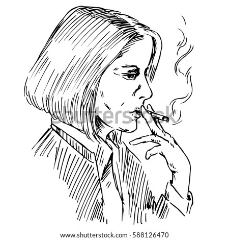 the young woman smoking a