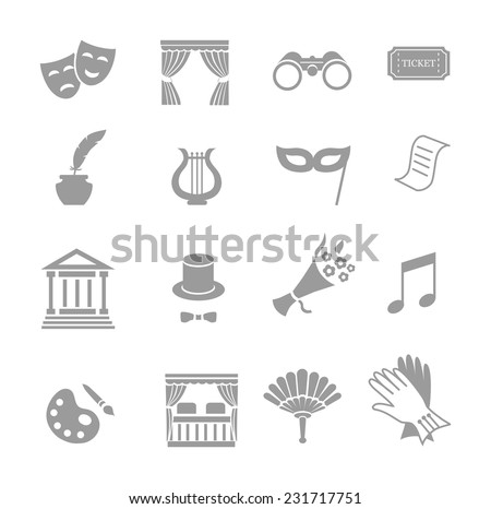 Theater acting  icons set black vector isolated