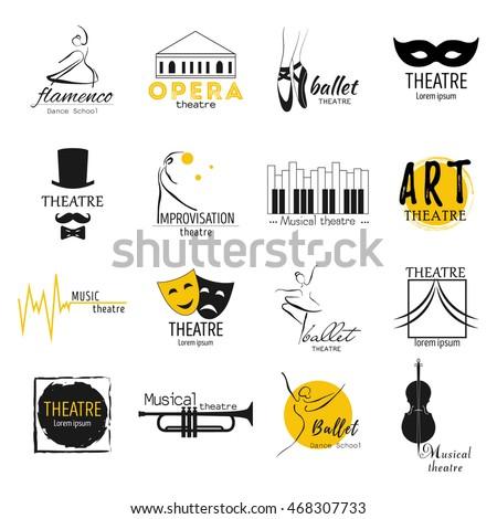 Theater, ballet,dance, opera musical logos template design collection.