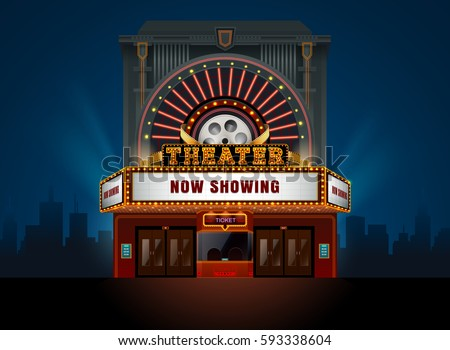 theater cinema building vector. ...