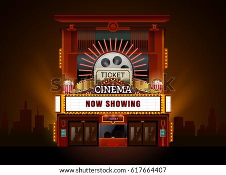 theater cinema building vector...