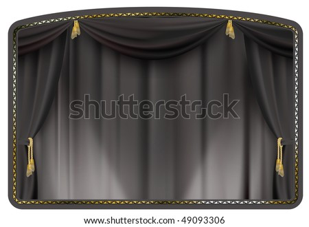 theater curtain black tied with gold tassels