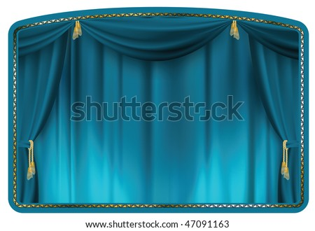 theater curtain blue tied with gold tassels