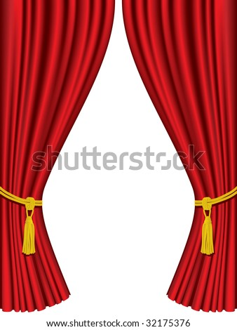 Theater curtains isolated on white background