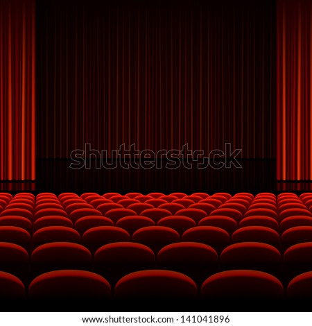 Theater interior with red curtains and seats. Vector. Zdjęcia stock ©
