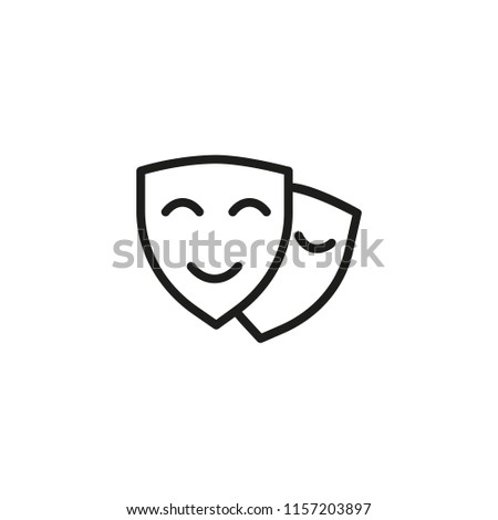 Theater line icon. Face, masque, disguise. Expressions concept. Vector illustration can be used for topics like masquerade, performance, entertainment