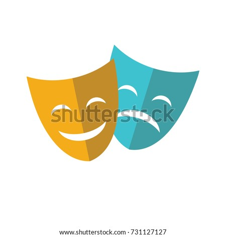 theater mask flat icon isolated