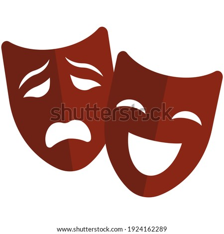 Theater mask vector icon. Comedy and drama symbol isolated on white background. Sad and happy smile face masque Photo stock ©