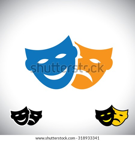 theater or drama vector icon sets with happy and sad face masks showing human emotions, comedy and tragedy masks.