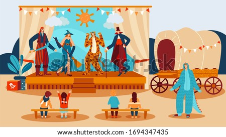 Theater performance for kids, show actors dressed in costumes of pirate, witch and tiger playing fairytale on scene before children cartoon vector illustration. Theatrical entertainment drama and fun. Stock photo ©
