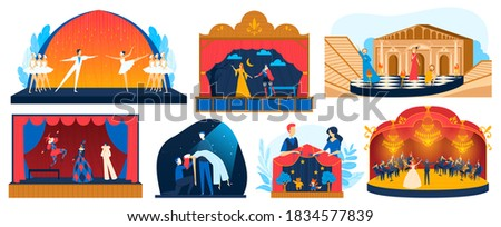 Theater performance vector illustration set. Cartoon flat performer actor and actress characters performing drama story, ballet acts or opera theatrical show on stage of theatre isolated on white