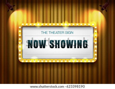 theater sign gold frame on curtain with spotlight vector illustration