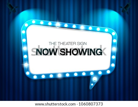 theater sign on curtain background with spotlight vector illustration #1060807373